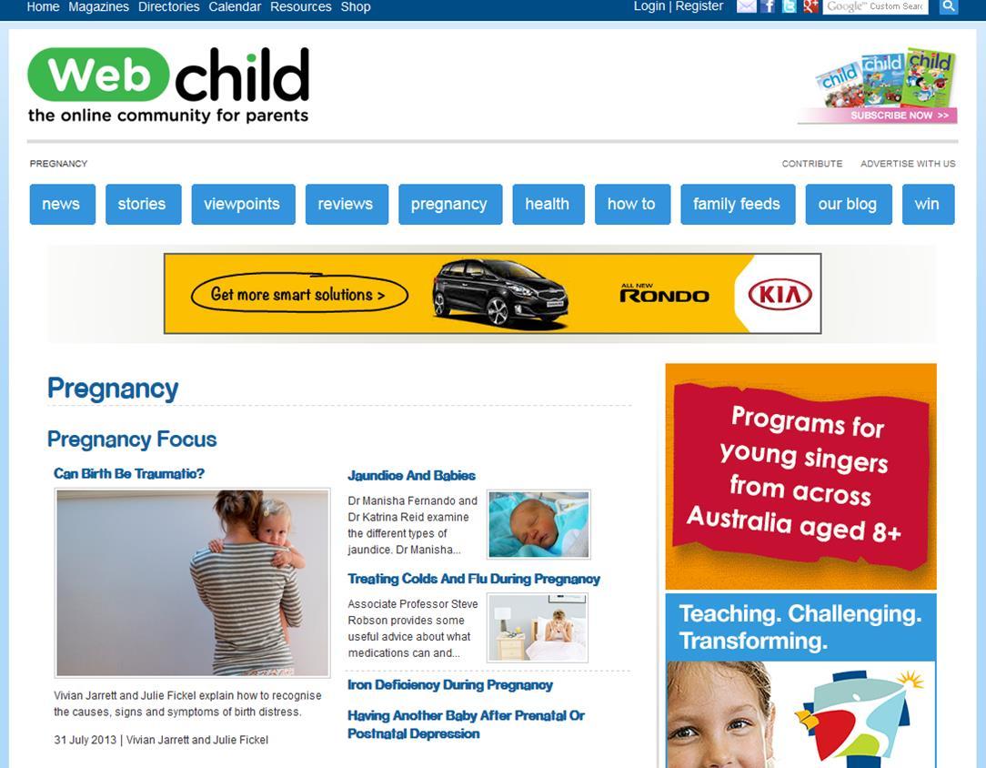 Web Child Birth Trauma screenshot