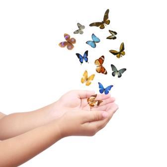 small hand releasing butterflies ,flying dreams