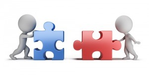 3d small people - male and female connecting puzzles. 3d image. White background.