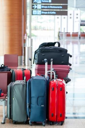 Colorful Travel Suitcases at the Airport