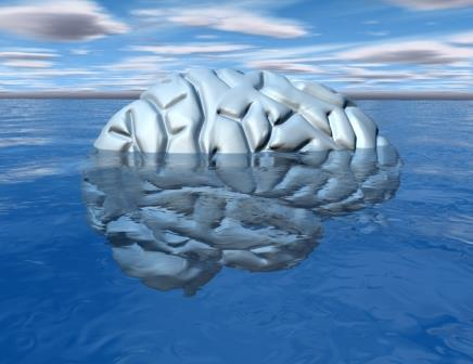 Subconscious mind concept with brain under water. 3d render.
