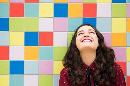 Optimistic and cheerful girl
