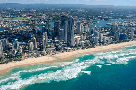 Aerial view of Surfers Paradise on Queensland's Gold Coast